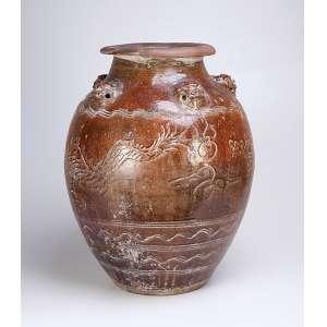 Grande pote de terracota vitrificada de marrom, 45 cm de diâmetro x 60 cm de altura. <br />(com avarias). China, séc. XVIII.
