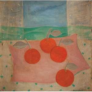 MARYSIA PORTINARI<br />Frutas sobre toalha rosa. Os placa, 31 x 31,5 cm. Assinado e datado de 63 no cid.