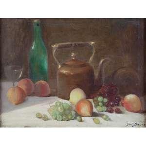GINO BRUNO<br />Composição com uvas e chaleira. Ost, 49 x 63,5 cm. Assinado no cid.