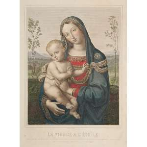 Madona. La Vierge a l'Etoile. <br />Gravura a metal, aquarelada de Jean Marie Leranje (1788-1838), a partir de pintura de Pinturiccho.