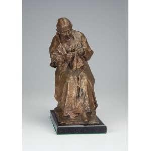 PELLEGRINI, ISIDOR, The Younger (1871-) <br />Senhora tricotando. Excelente escultura de bronze dourado sobre base de mármore. <br />14 x 22 x 33 cm de altura. Suíça, séc. XX.