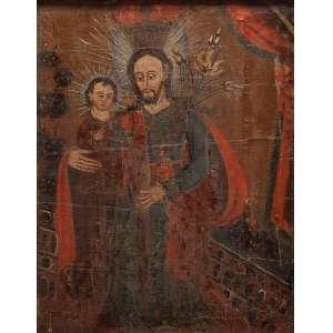 Escola cuzquenha (Séc. XIX)<br />São José com o Menino Jesus. Ost, 60 x 47 cm.