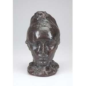 RODIN, Auguste<br />Rosto feminino. Escultura de bronze patinado. 24 cm de altura. Monogramado. Trata-se de reprodução autorizada e executada pelo MUSEU RODIN, conforme inscrição no verso da obra.