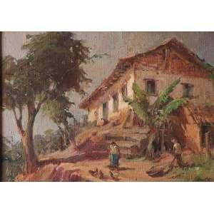 LUIZ LABOZETTO<br />Paisagem com casa Tiradentes. Ost, 33 x 46 cm. Assinado no cie.