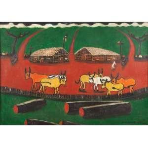 JOSÉ ANTÔNIO DA SILVA<br />Paisagem rural. Ost, 70 x 100 cm. Assinado e datado de 69 no cid.