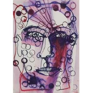 MAREPE (Marcos Reis Peixoto)<br />Rosto. Aquarela, 33 x 24 cm. Datado de 2009.