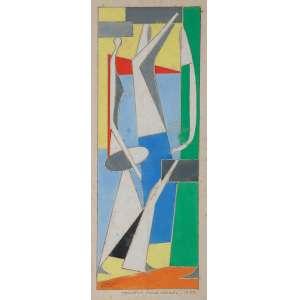 MARIO ZANINI<br />Projeto para painel. Guache, 35 x 13 cm. Datado de 1959.