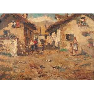 Autoria desconhecida <br />Vila com figuras (Pilastrini). Ostc placa, 50 x 70 cm. Assinatura ilegível no cid, datado no verso de 1946.