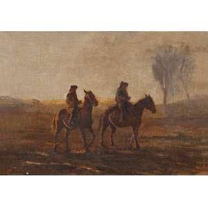 MARIO AGOSTINELLI<br />Figuras a cavalos. Osm, 46 x 65 cm. Assinado no cie.