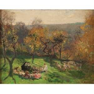 HERVÉ, Jules René (1887-1981)<br />Crianças e freiras no campo. Ost, 33 x 41 cm. Assinado no cid.