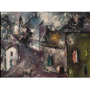 IVAN BLIN<br />Paisagem com casas. Ost, 28 x 36 cm. Assinado no cie.
