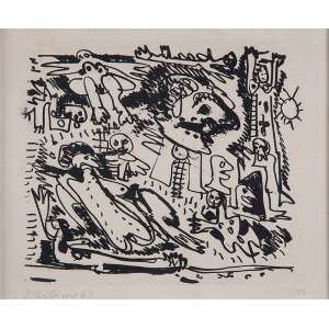 RUBENS GERCHMAN<br />A praia. Litogravura 10/10. 21 x 27 cm. Assinado e datado de 62 no cie. <br />No verso etiquetas da Galeria Luisa Strina.