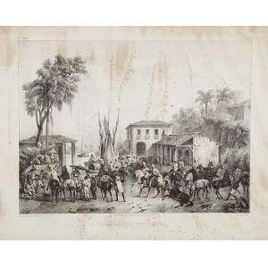 RUGENDAS, Johann Noritz 1802-1858)<br />Porto do Estrella. Litogravura de Victor Adam (1801-1866) a partir de desenho Rugendas, 32 x 39,5 cm. <br />França, séc. XIX.