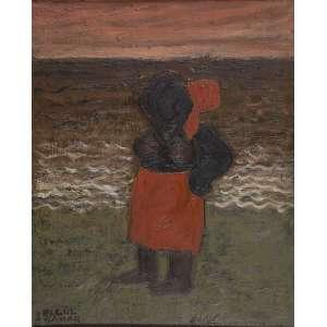 ELGUL SAMAD<br />Figura na praia. Ost, 60 x 50 cm. Assinado e datado no cie, Segul Samad / 16-11-71.