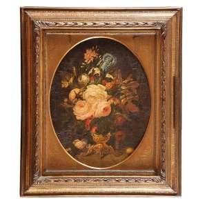 ESCOLA FLAMENGA (Séc. XVIII) <br />Vaso com flores. Ost, 65 x 63 cm. Magnífica moldura com janela oval.