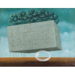 WALTER LEWY<br />Paisagem surrealista. Ost, 72 x 92 cm. Assinado e datado de 1983 no cid.