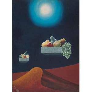 WALTER LEWY<br />Surreal com frutas. Ost, 81 x 60 cm. Assinado e datado de 1983 no cie.