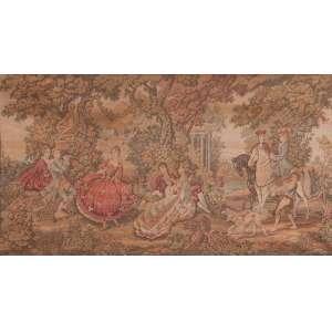 Tapeçaria retratando cena campestre da nobreza. 190 x 86 cm. Séc. XX.