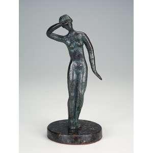 Nu feminino. Escultura de bronze sobre base de granito. Assinada Morron. 25 cm de altura.