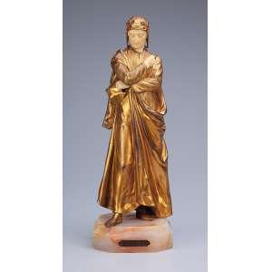ALONZO, Dominique<br />Dante. Escultura de bronze e marfim sobre base de ônix. 31,5 cm de altura. Assinada no bronze. França, c. 1930.