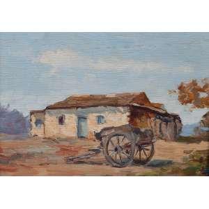 ARCANGELO IANELLI<br />Paisagem rural. Osm, 24,5 x 35 cm. Assinado e datado de 1946 no cid.