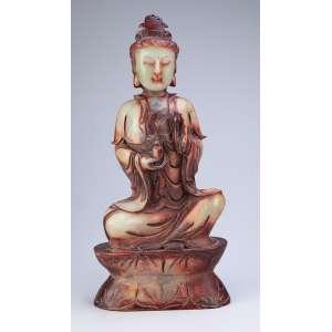 Deusa. Escultura de jade. 43 cm de altura. China, séc. XIX.