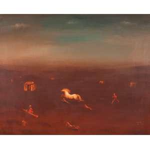 ORLANDO TERUZ<br />Paisagem com cavalo, crianças e cachorro. Ost, 81 x 100 cm. Assinado, situado Rio e datado de 1984 no cid.