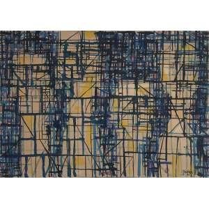 PAULO BECKER<br />Figuras. Ecoline sobre tela, 65 x 92 cm. Assinado e datado de 55 no cid.