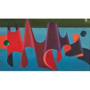 WALTER LEVY<br />Composição surrealista. Ost, 50 x 85 cm. Assinado e datado de 1987 no cie.