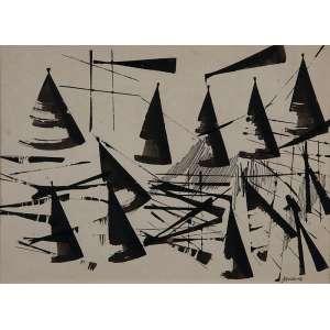 ANTONIO BANDEIRA<br />Sem título. Nanquim, 21 x 30 cm. Assinado no cid.