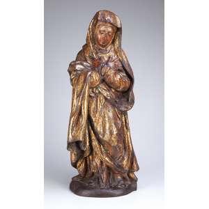Nossa Senhora das Dores <br />Imagem da escola flamenga, esculpida em um único bloco de madeira com douração. <br />62 cm de altura. Europa, séc. XVII.
