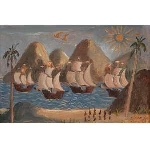 FULVIO PENNACCHI<br />A chegada das caravelas. Os placa, 17 x 26 cm. Assinado e datado de 42 no cid.