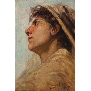 OSCAR PEREIRA DA SILVA<br />Figura feminina de perfil. Ost, 30 x 20 cm. Assinado e datado de 1905 no cid.