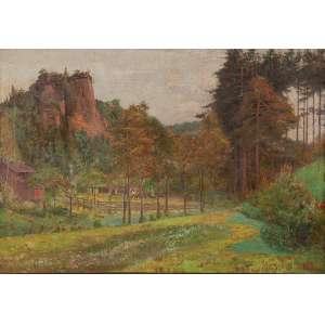 FRANCISCO AURÉLIO DE FIGUEIREDO<br />Paisagem rural. Ost, 50 x 75 cm. Assinado e datado de 1908 no cid.