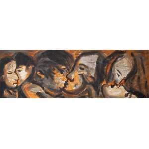RUBENS GERCHMAN<br />Sequencia da série do beijo. Ost, 70 x 212 cm. Assinado no cid. <br />No verso: Intitulado, datado de 96/97 e assinado.