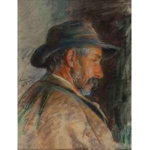 SOUZA PINTO<br />Homem de perfil. Pastel sobre cartão. 30 x 23 cm. Assinado e datado de agosto <br />de 1913 no lado esquerdo.