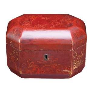 Caixa para chá de charão bordô. Internamente dois recipientes de estanho para guarda dos chás. <br />20 x 14 x 14 cm de altura. Japão, séc. XIX.