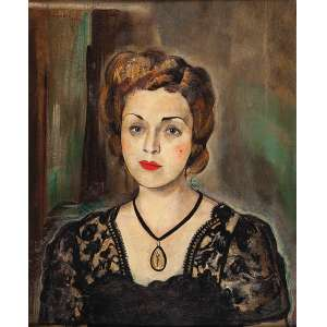 ALBERTO DA VEIGA GUIGNARD<br />Retrato de Maria Portugal Milward. Ost, 65 x 53 cm. Assinado e datado de 1943 no cse.