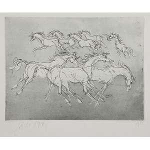 LÍVIO ABRAMO<br />Cavalos. Gravura em metal 17/50, 44 x 63 cm. 1983. Assinado embaixo à esquerda. Sem moldura.