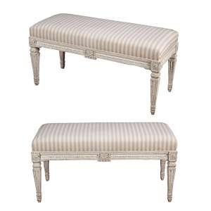 Par de banquetas estilo Louis XVI, de madeira patinada de branco. Assento estofado revestido de tecido. <br />100 x 43 x 50 cm de altura. França, séc.XIX.