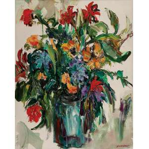 STELLA BIANCO<br />Vaso de flores. Ost, 80 x 100 cm. Assinado no cid.