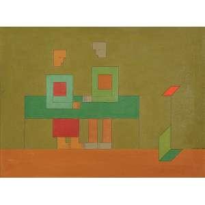 DIONÍSIO DEL SANTO<br />Casal a mesa. Ost, 55 x 75 cm. Assinado e datado de 1980 no cid.