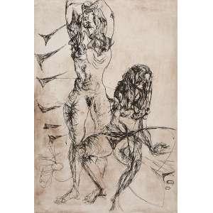 FLÁVIO DE CARVALHO<br />Duas mulheres. Gravura em metal s/n, 67 x 50 cm. Sem assinatura. Sem moldura.