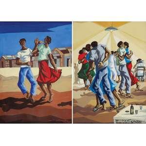 PEDRO CORREA<br />Figuras dançando. Pendant de guache sobre papel. 35 x 24 cm. Assinados e datados de 59 no cid.