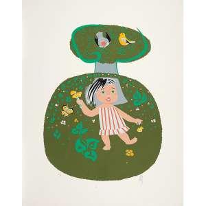 FLORIANO TEIXEIRA<br />Menina. Serigrafia PA, 63 x 60 cm. 1987. Assinado embaixo à direita. Sem moldura.