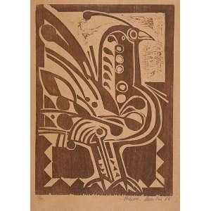 ALDEMIR MARTINS<br />Galos. Xilogravura 14/30, 70 x 50 cm. 1988. Assinado embaixo à direita.