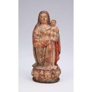 MESTRE CABELINHO<br />Nossa Senhora com o Menino. Imagem de madeira policromada. <br />13 cm de altura. Brasil, São Paulo, séc. XVII.