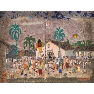 FULVIO PENNACCHI E EUNICE PESSOA<br />Aldeia de Carapicuíba. Cerâmica, 38 x 48 cm. Assinado no cid. <br />Coleção Augusto Velloso.