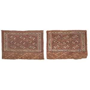 Par de antigas selas turcomanas, Tekke Boukhara, 78 x 100 cm.