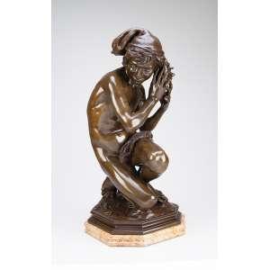 CARPEAUX, Jean-Baptiste<br />Le pêcheur à la coquille. Escultura de bronze sobre base de mármore. 60 cm de altura. França, princípio do séc. XX. Reproduzido em Jean-Baptiste CARPEAUX, por Michel Poletti e Alain Richarme, página 63.
